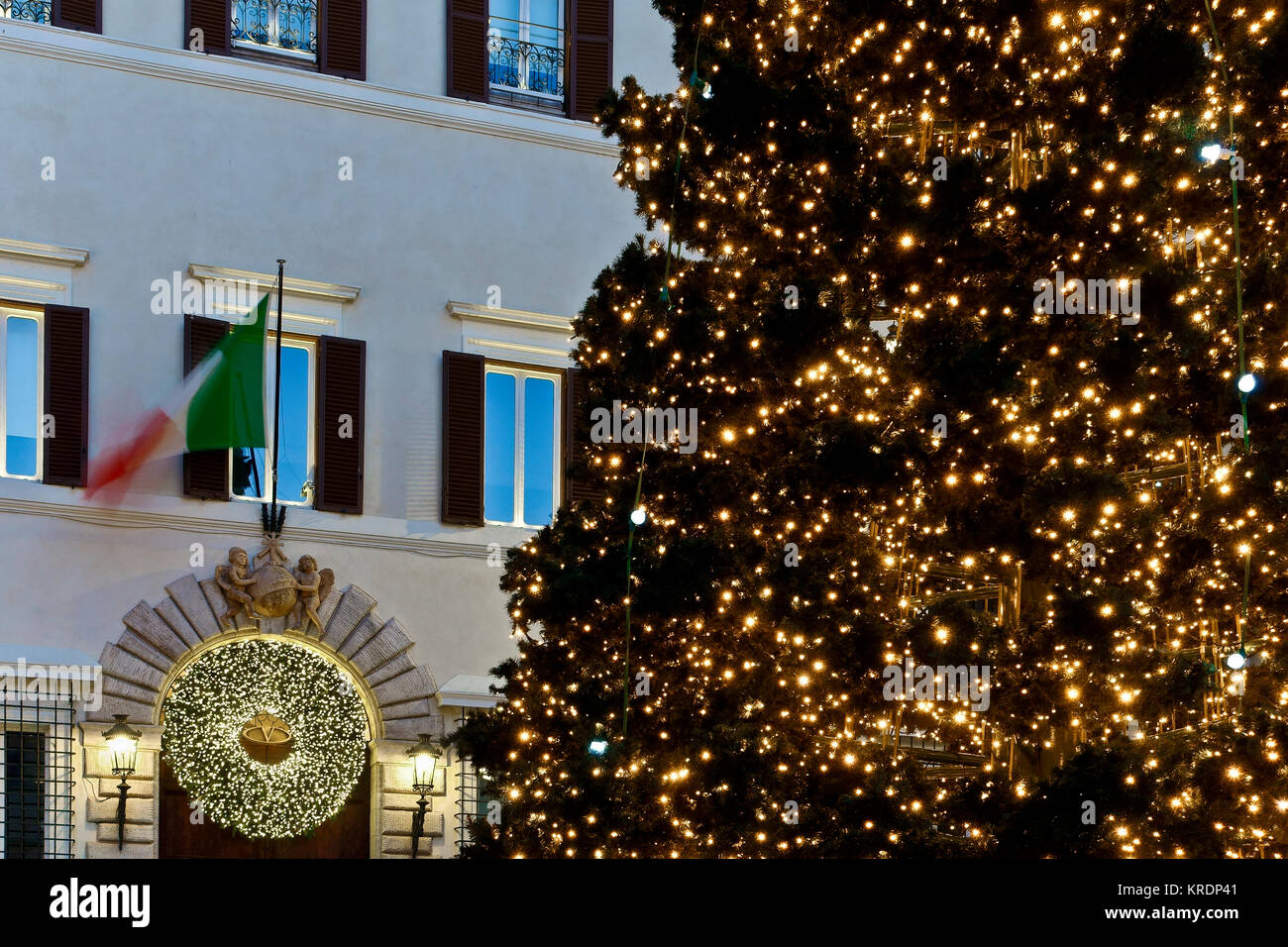 rome christmas led lights tree decorations valentino palace entrance italy europe christmas time low angle view close up luxury shopping