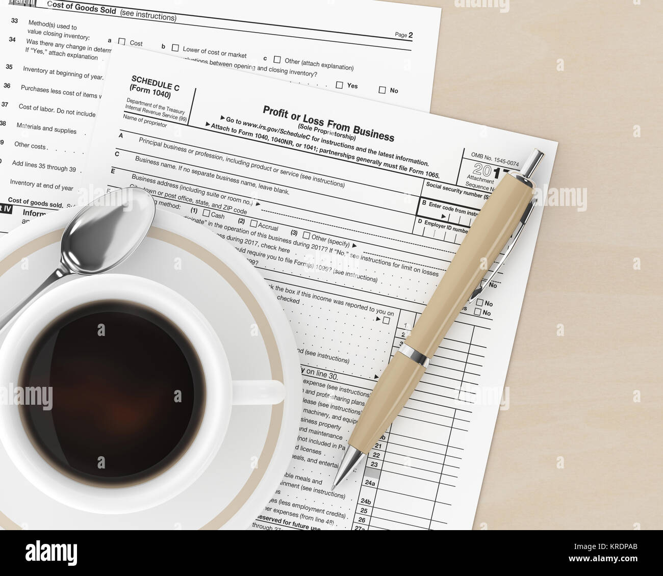 3d rendering of 1040 schedule c form and coffee lying on desk stock 3d rendering of 1040 schedule c form and coffee lying on desk falaconquin