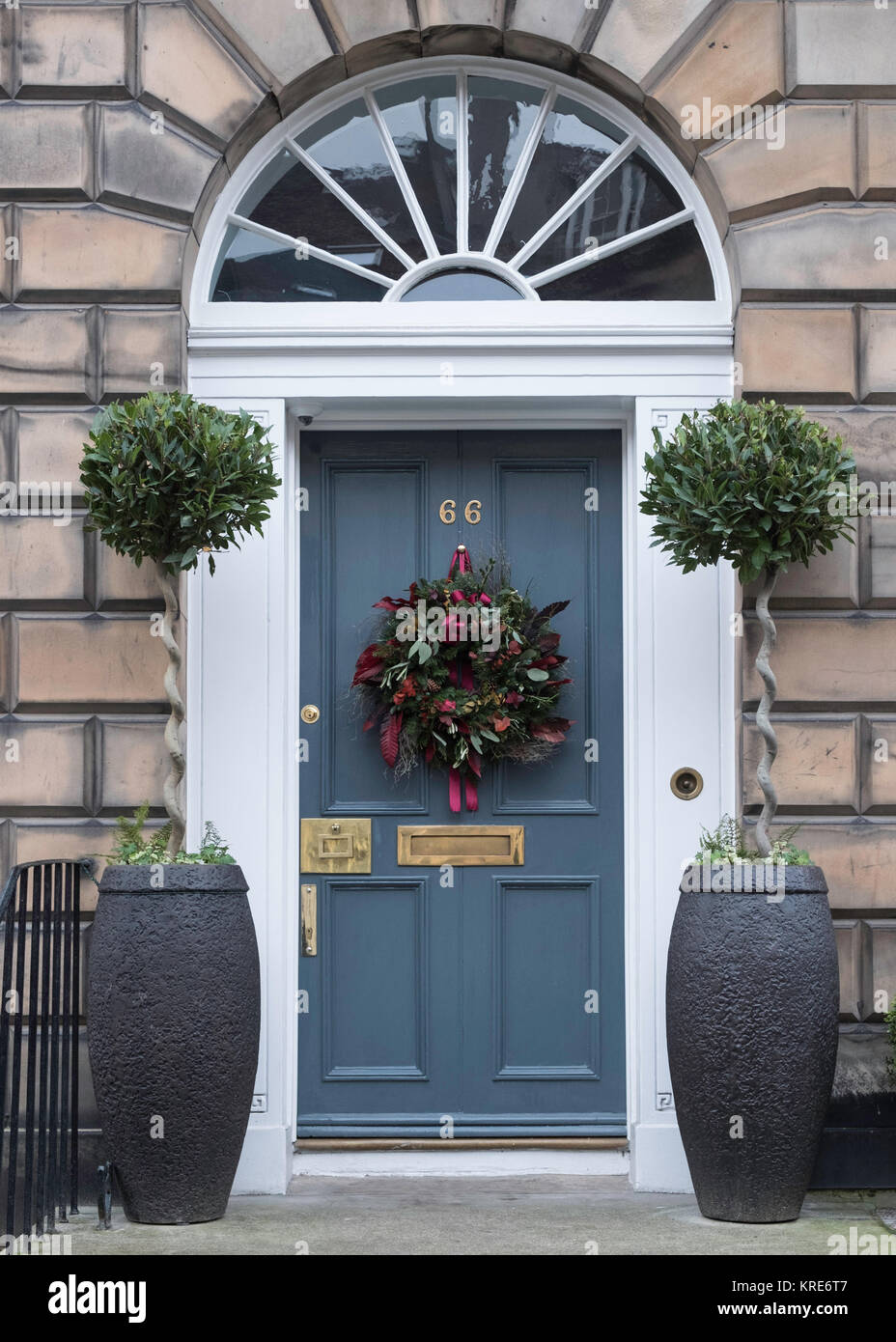 Christmas Decorations Of Front Doors Of Georgian Houses In The New