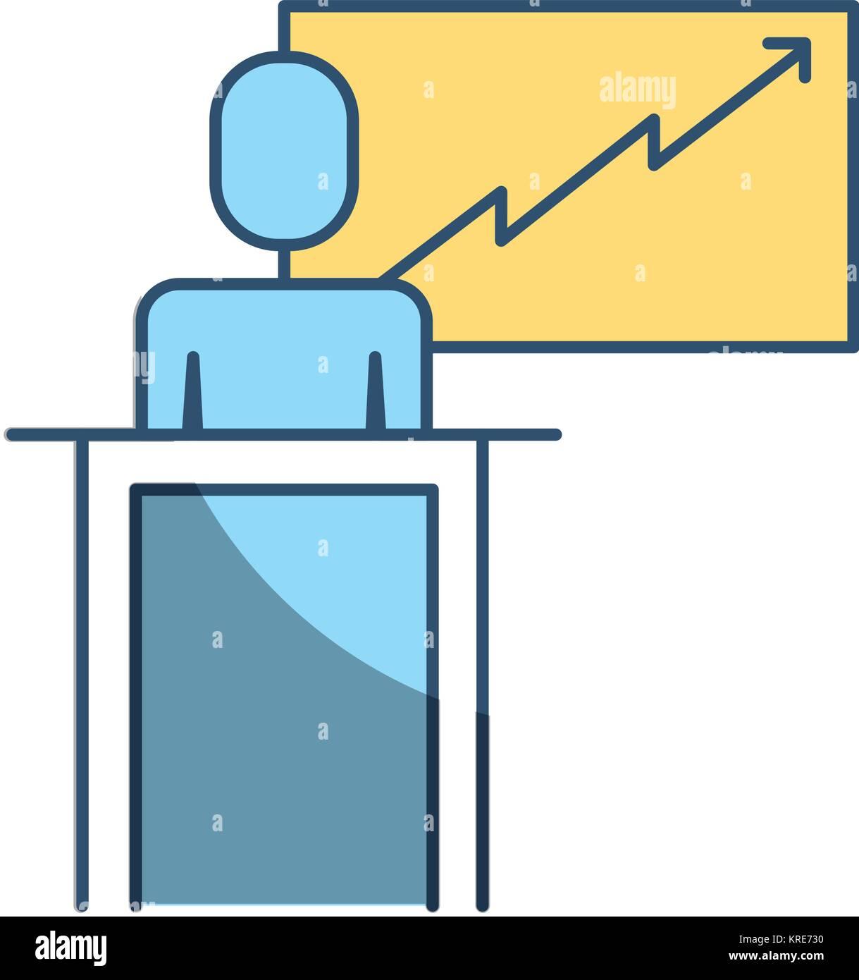 businessman podium presentation board diagram Stock Vector Art ...