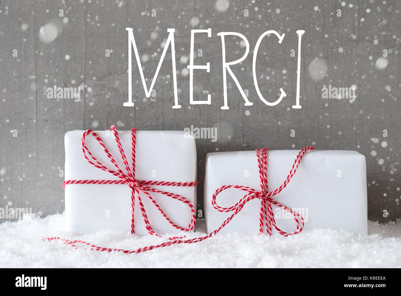 French Text Merci Means Thank You. Two White Christmas Gifts Or ...