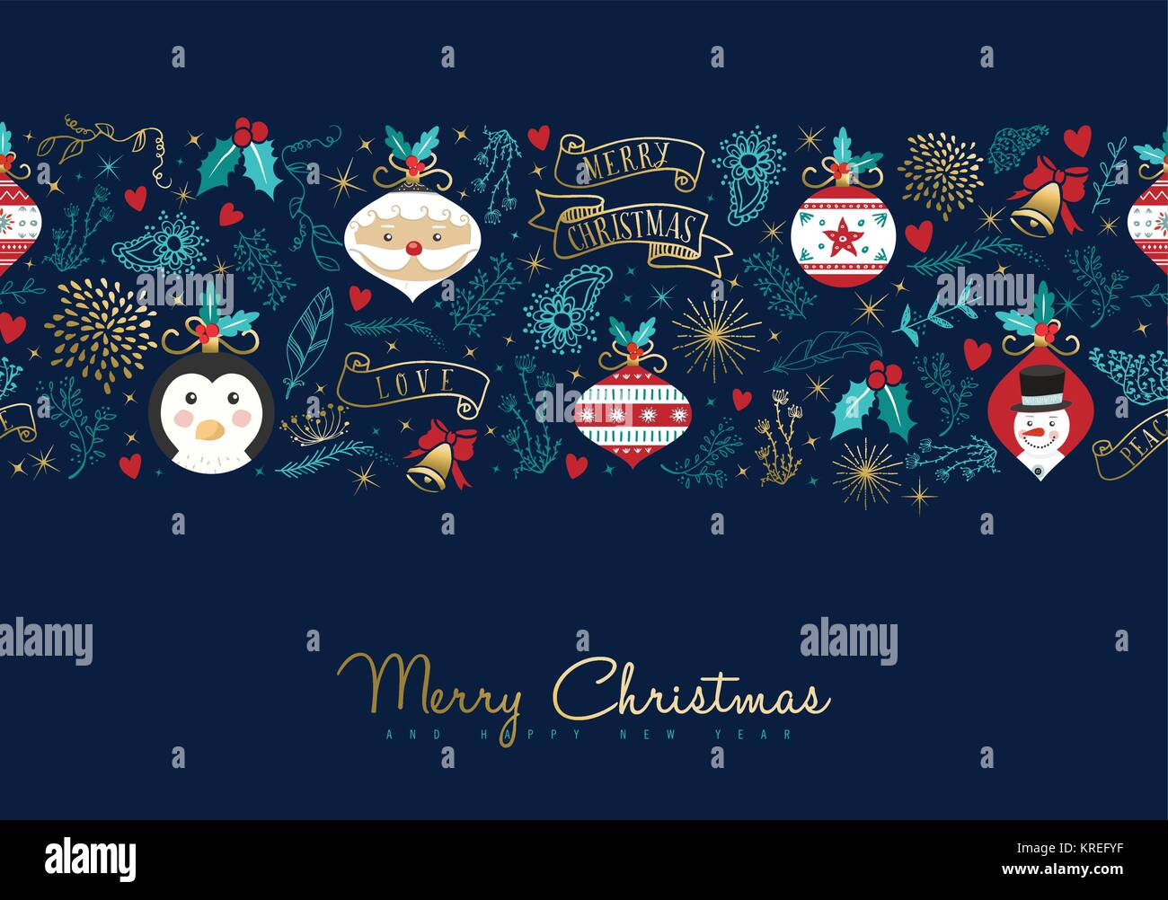Merry Christmas Seamless Pattern Greeting Card With Text Quote Typography  For New Year Holidays. Includes Santa Claus, Snowman And Penguin Cartoon Dec