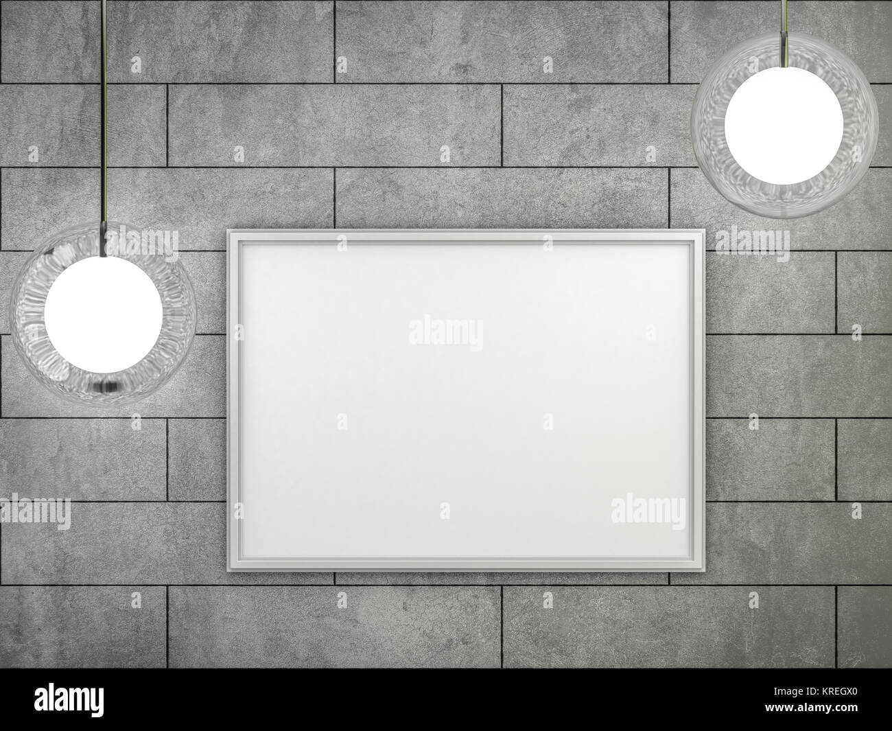 White blank poster with frame mock-up on wall. 3D rendering Stock ...