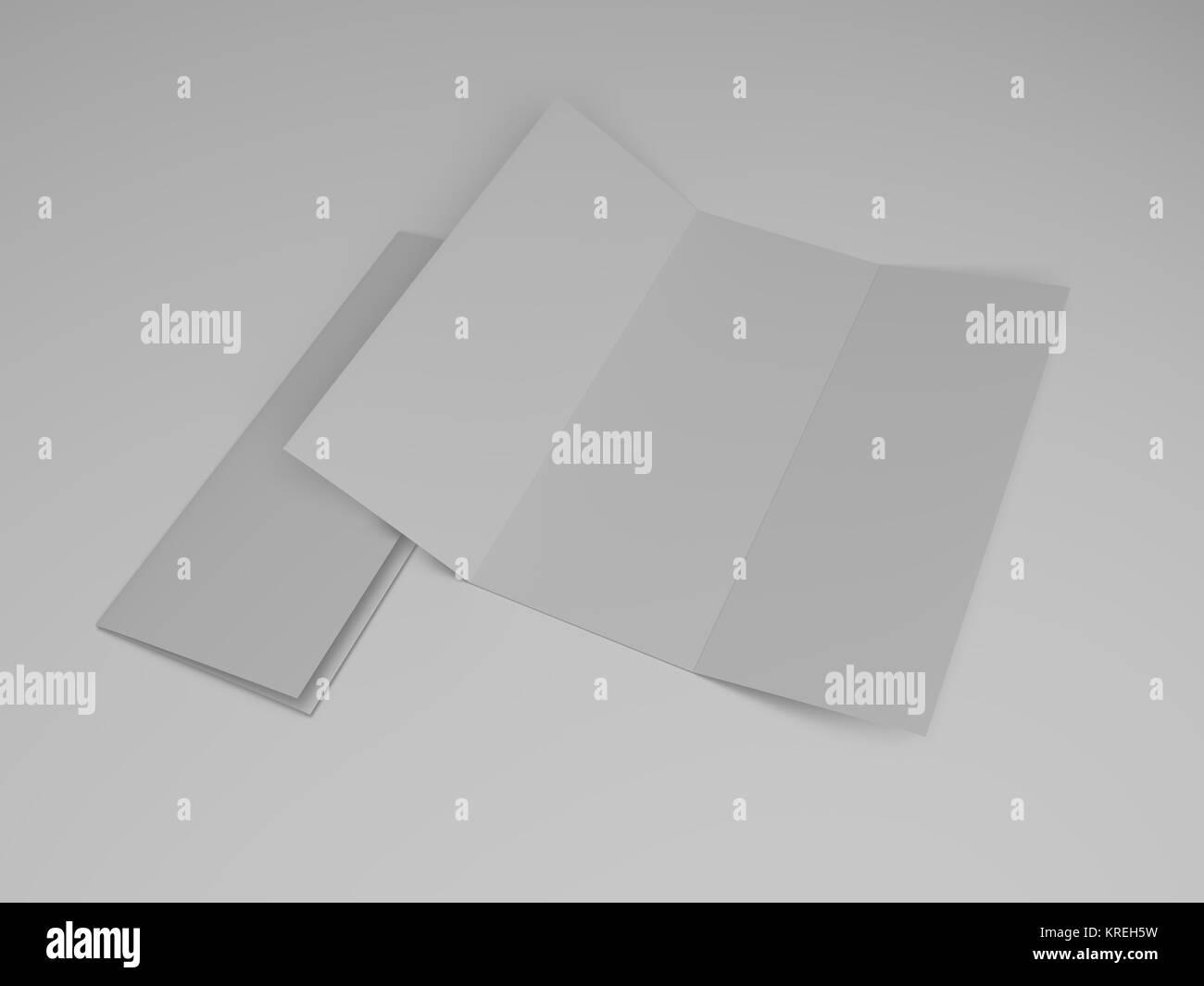 blank tri fold brochure design template 3d rendering stock photo