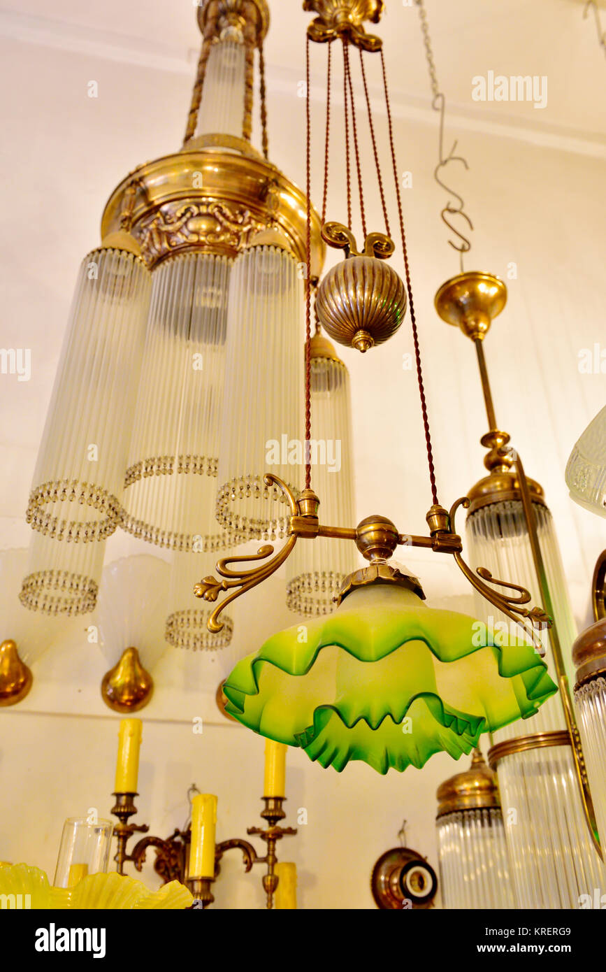 Antique lighting glass chandeliers in shop central Athens Greece - Stock Image & Antique Lighting Stock Photos u0026 Antique Lighting Stock Images - Alamy azcodes.com
