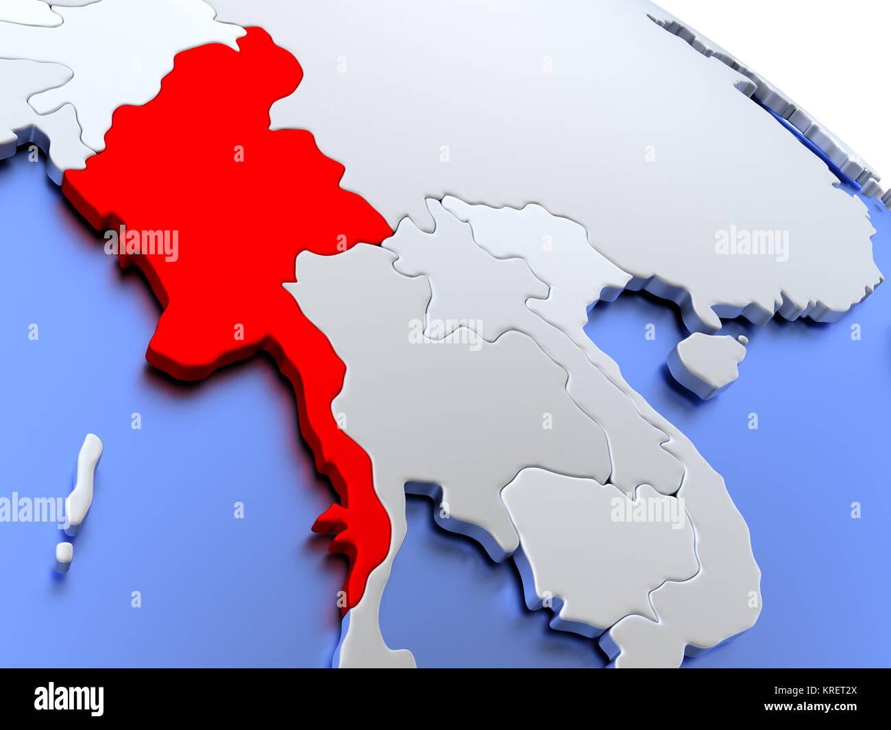 Myanmar on world map stock photo 169356626 alamy myanmar on world map gumiabroncs Gallery