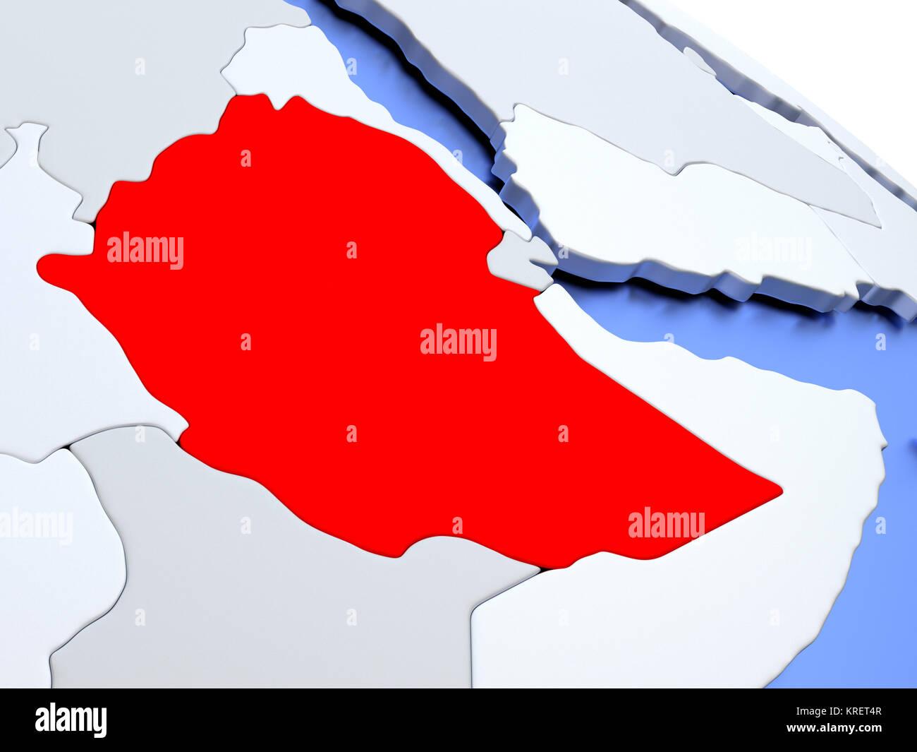 Ethiopia on world map Stock Photo: 169356679 - Alamy