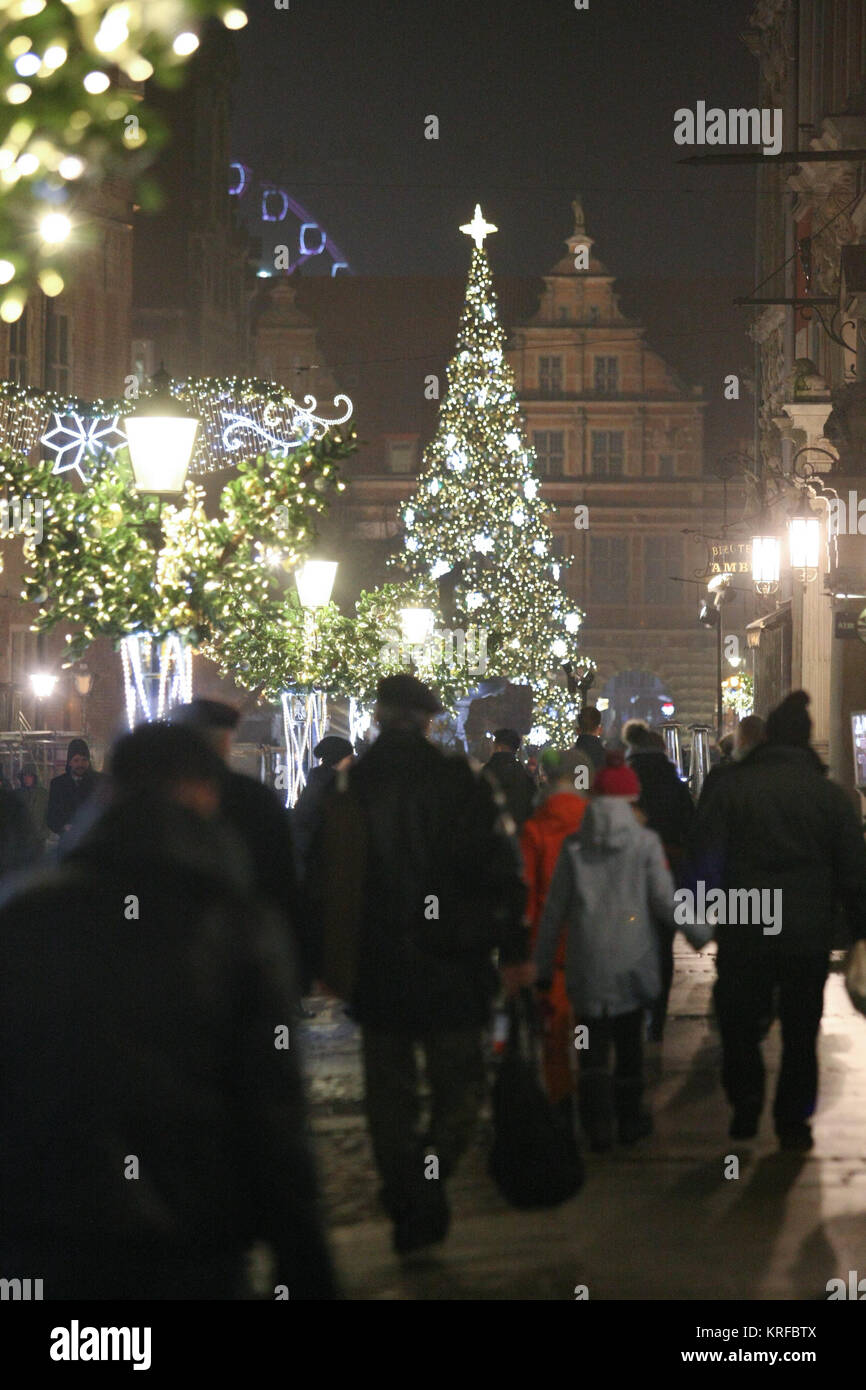 Christmaslights And Christmas Tree In Gdansk Are Seen On 19 December 2017  In Gdansk, Poland People Visit The Christmas Market To Buy Christmas  Presents, ...