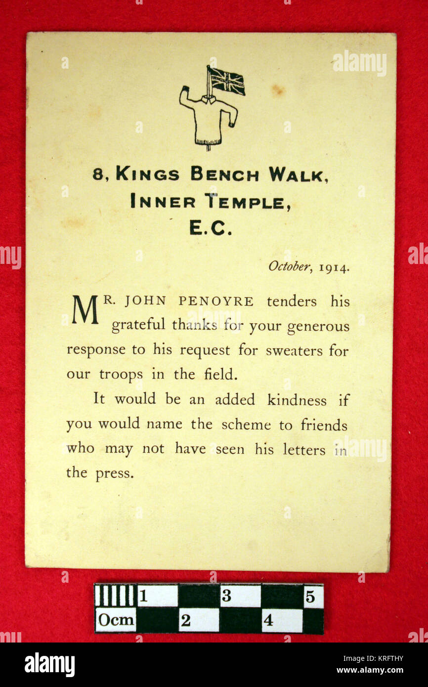 a printed postcard with words of thanks from mr john penoyre who