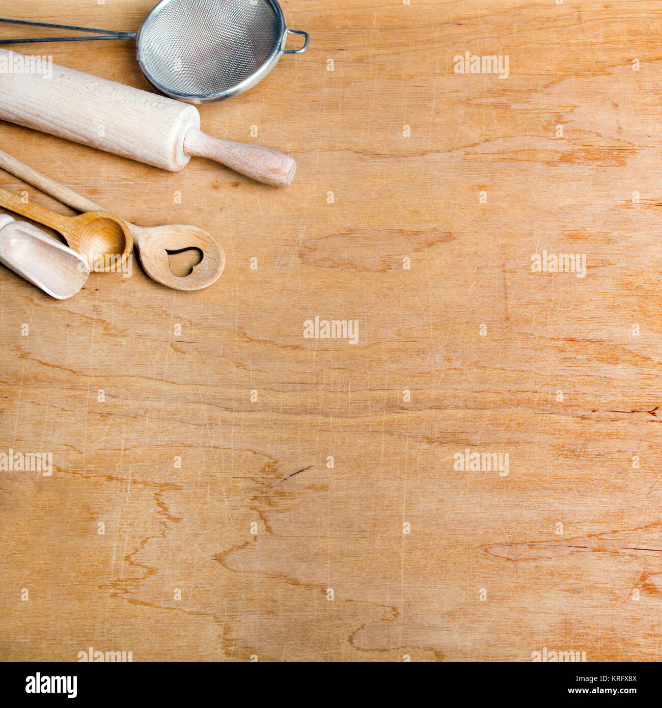 Kitchen Utensils Background: Antique Wooden Rolling Pin Stock Photos & Antique Wooden