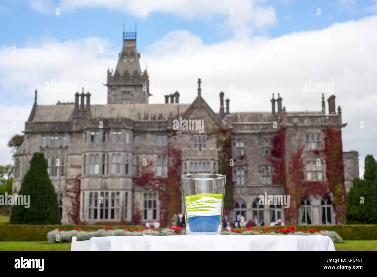 unity wedding glass in front of adare manor Stock Photo