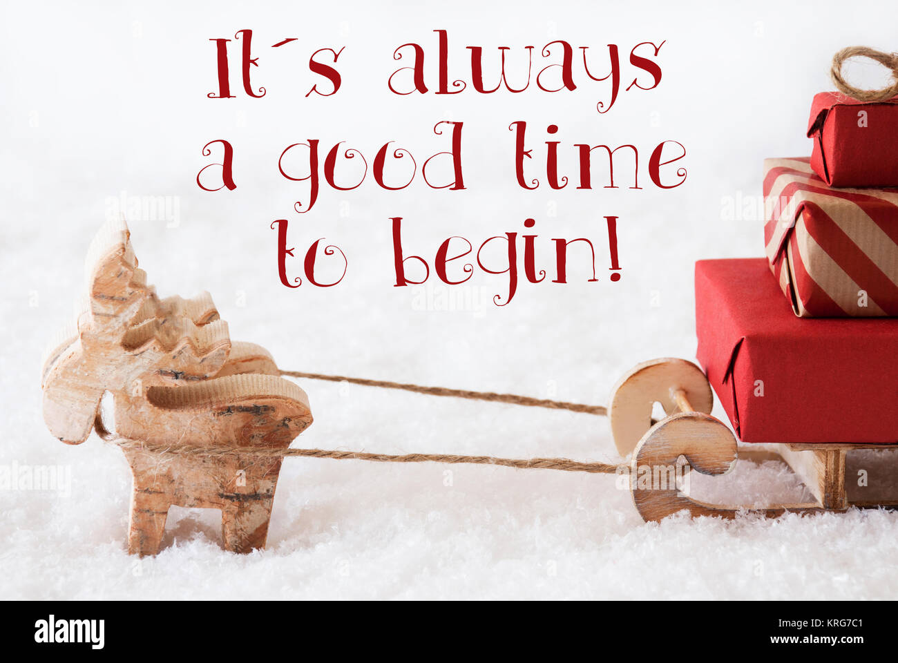 Moose is drawing a sled with red gifts or presents in snow moose is drawing a sled with red gifts or presents in snow christmas card for seasons greetings english quote it is always a good time to begin m4hsunfo