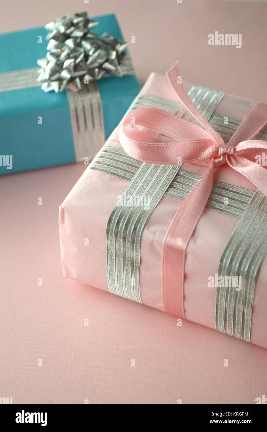 Gift-wrapped presents. Beautiful gift boxes in luxurious wrapping ...