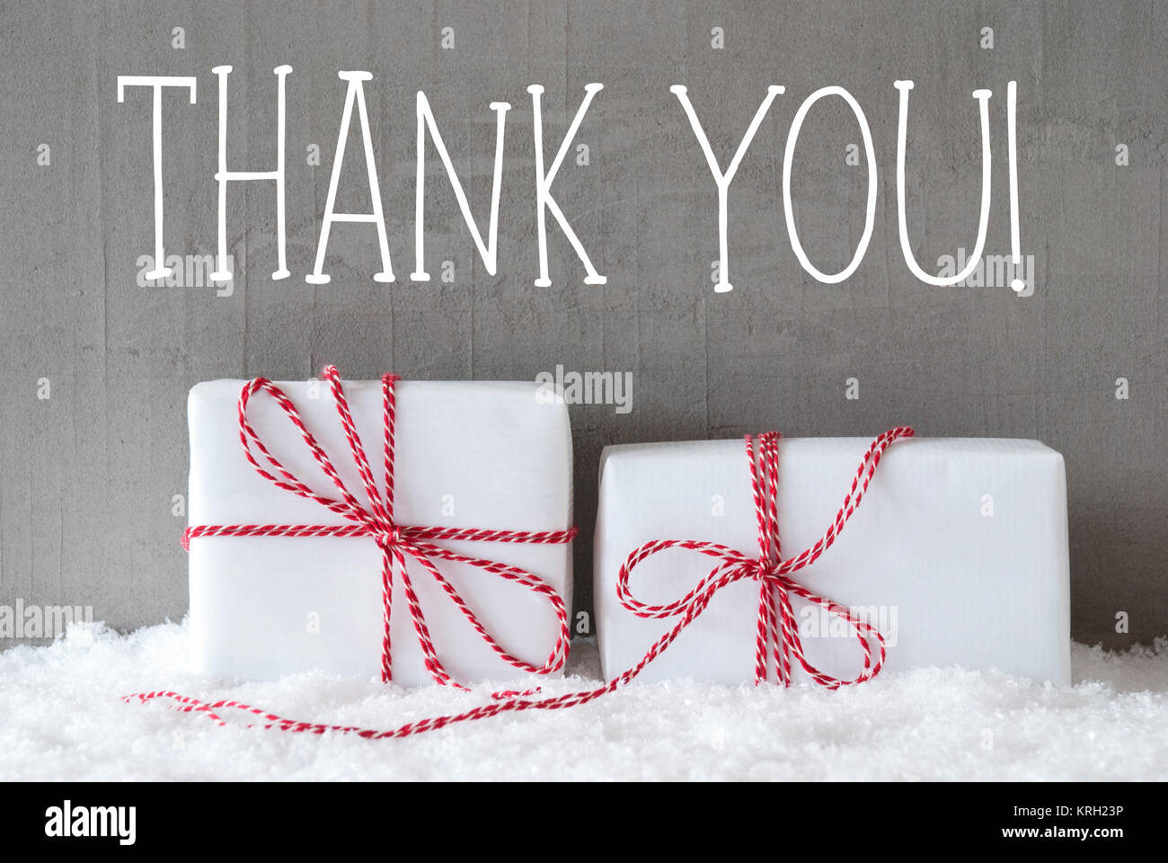 English Text Thank You. Two White Christmas Gifts Or Presents On ...