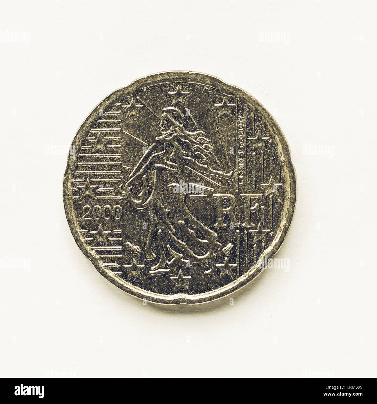 Vintage French 20 Cent Coin Stock Photo 169472053