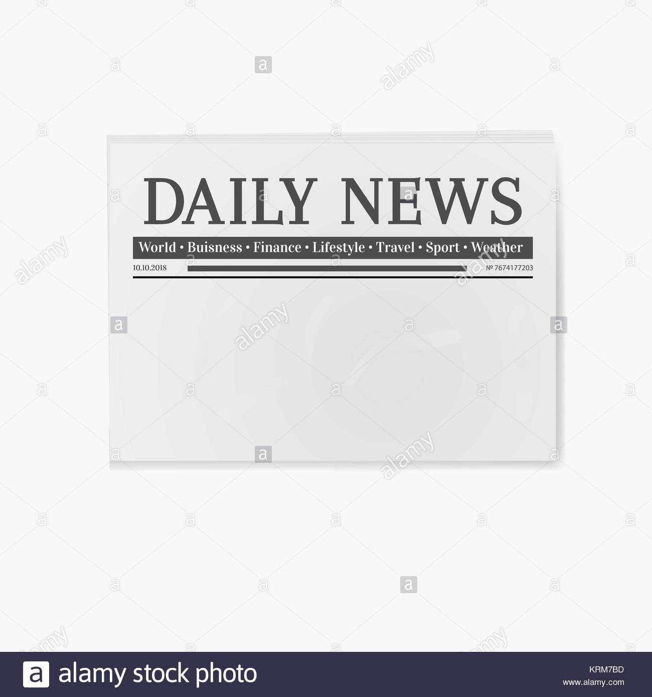 blank newspaper daily news page template illustration stock vector