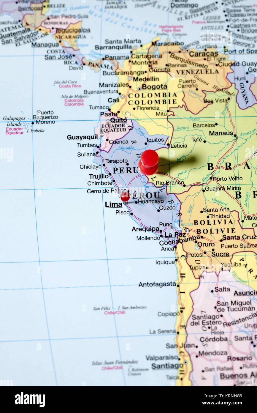 Costa Rica South America Map.Push Pins On South America Map Stock Photo 169505171 Alamy