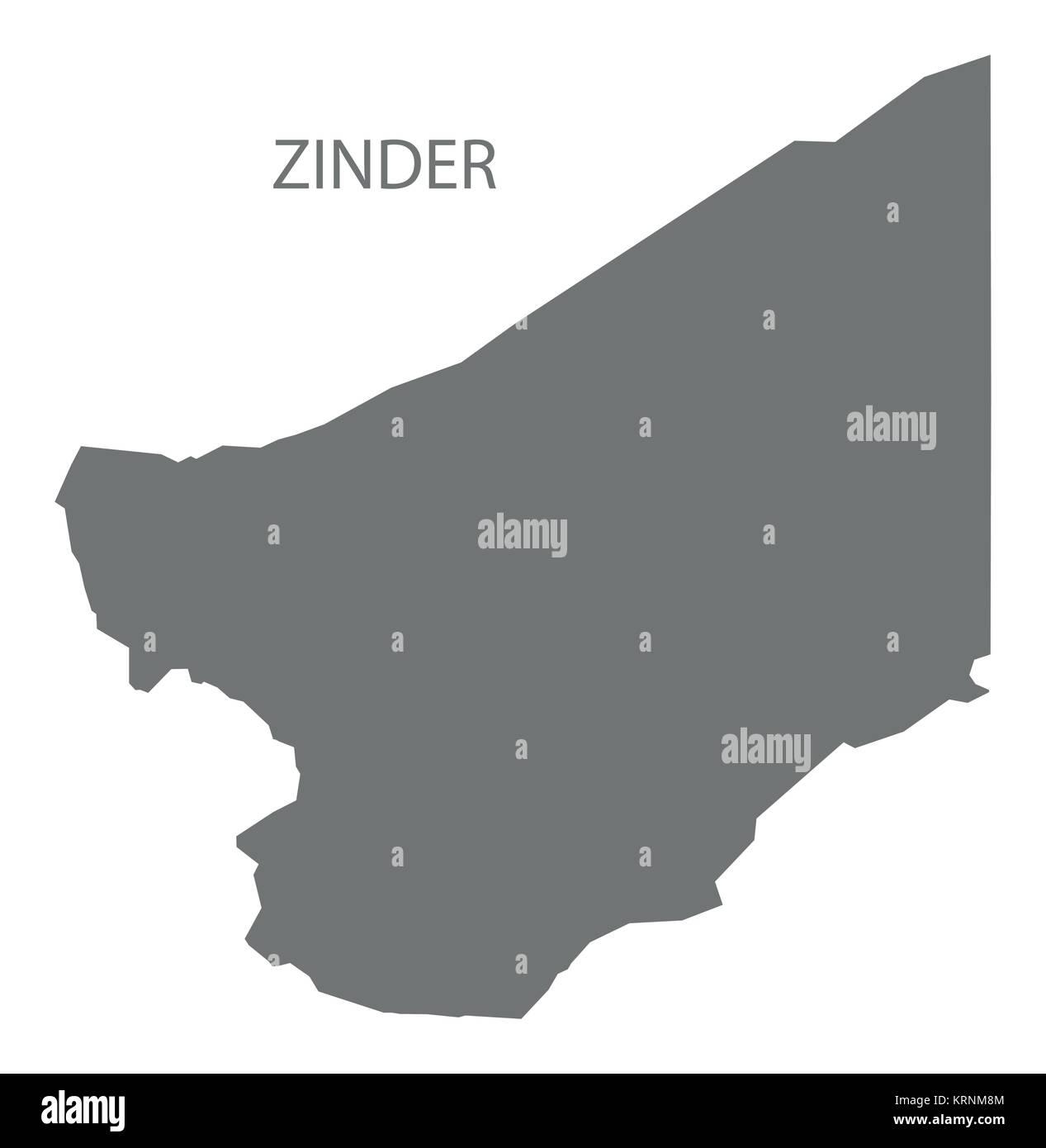 Zinder map of Niger grey illustration silhouette shape Stock Vector