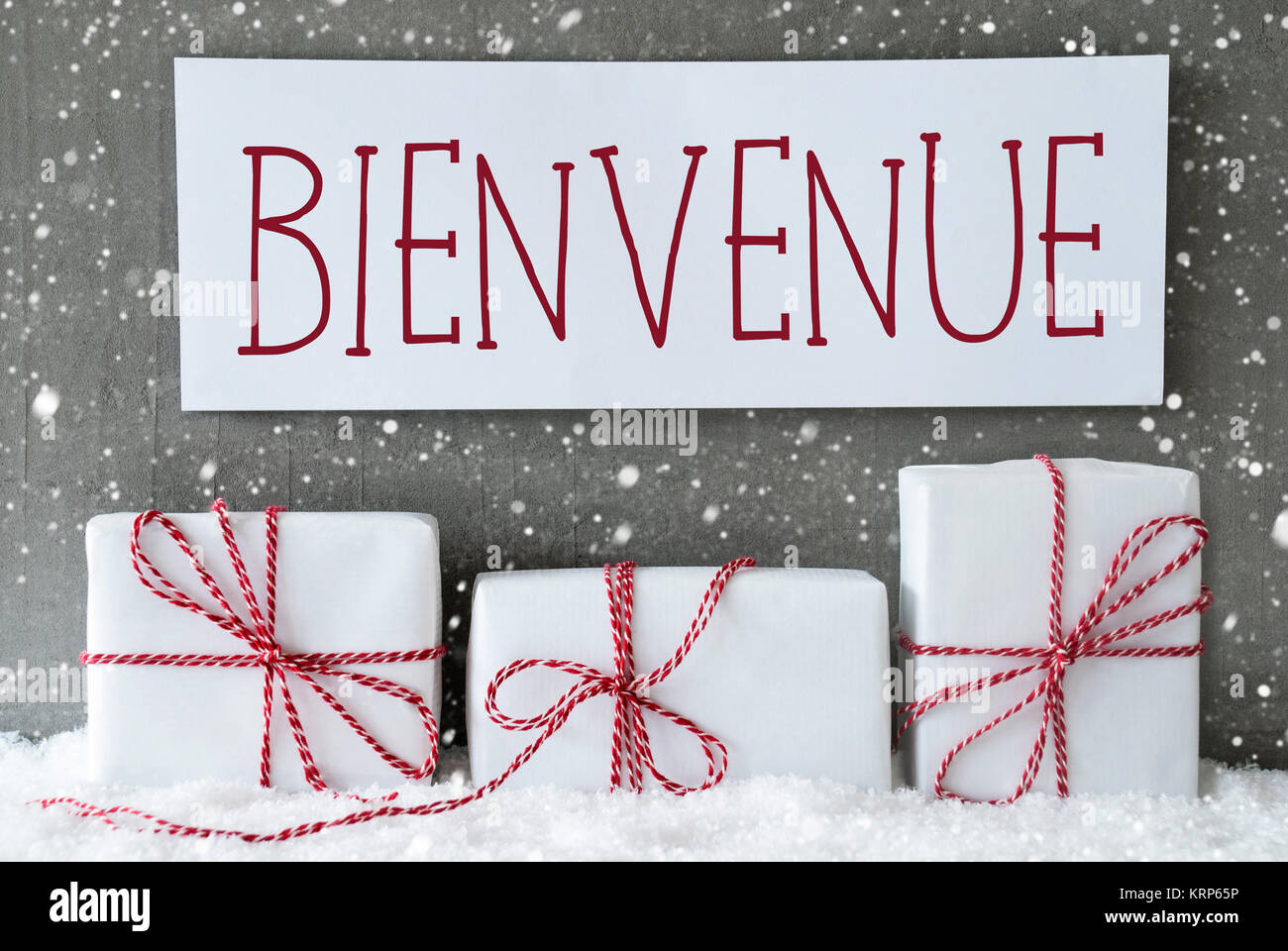 Label With French Text Bienvenue Means Welcome. Three Christmas ...