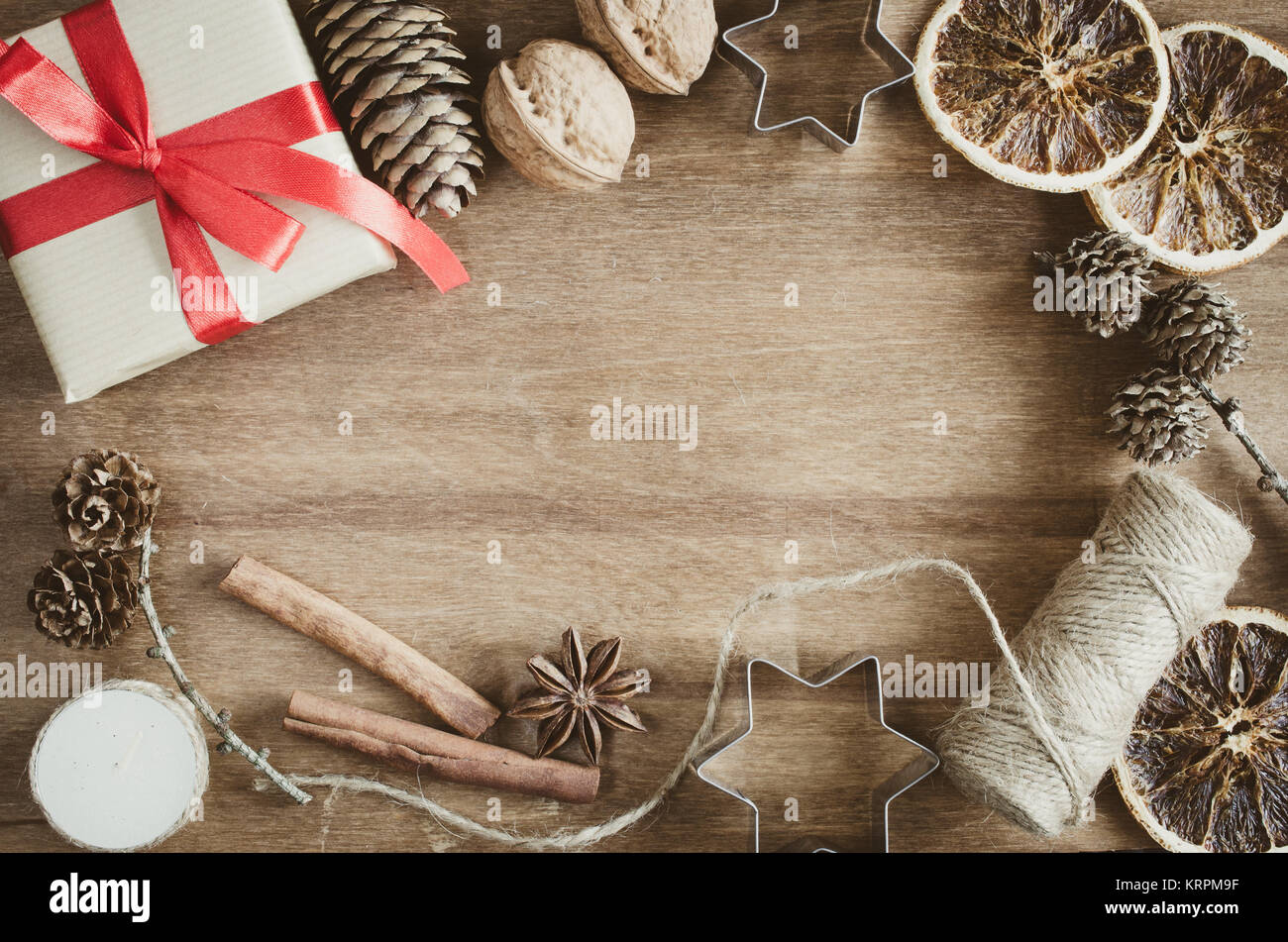 Vintage Christmas Holiday Background Rustic Xmas Decorations On