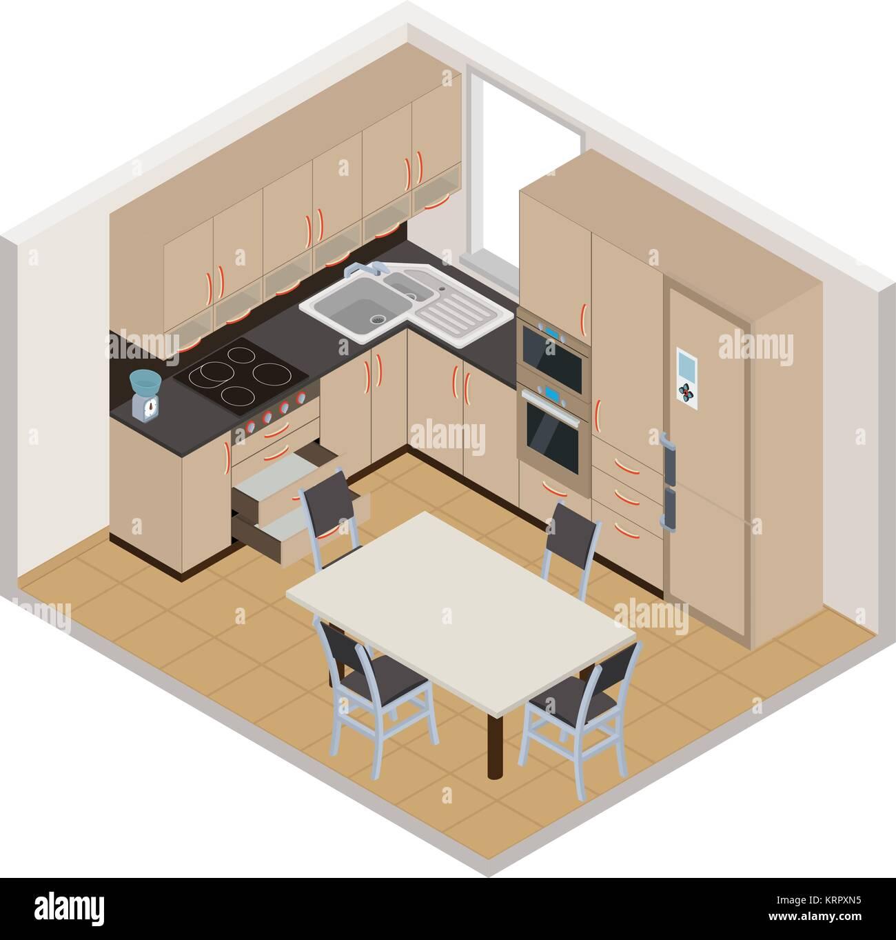Vector Isometric Kitchen Interior 3d Illustration Stock Vector Art