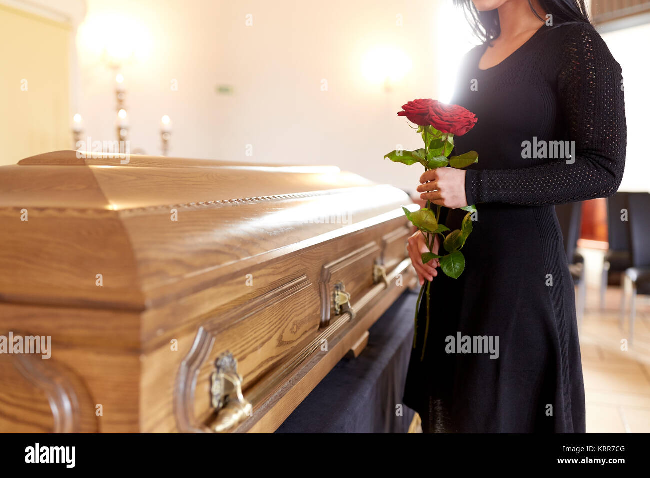 Dead woman and casket stock photos dead woman and casket for Adams salon kings highway