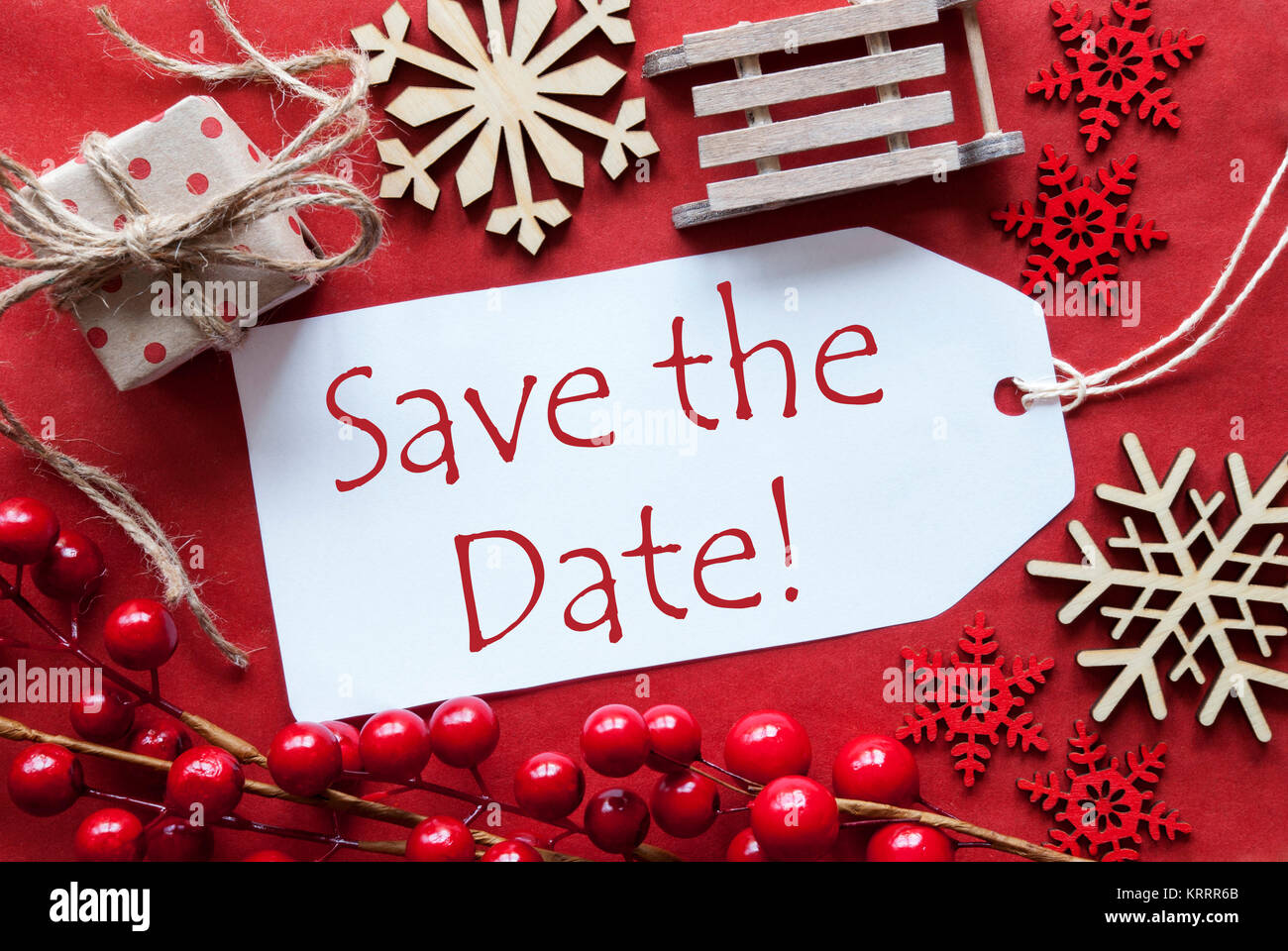 English Text Save The Date. Christmas Decoration Like Gift Or Stock ...