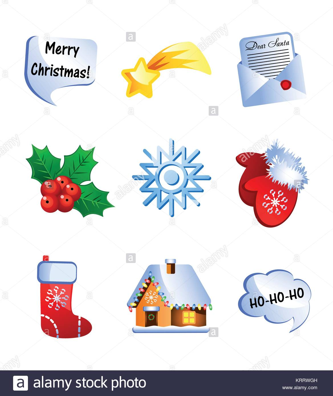 Set of funny Christmas and New Year icons, with cute cartoon Stock ...