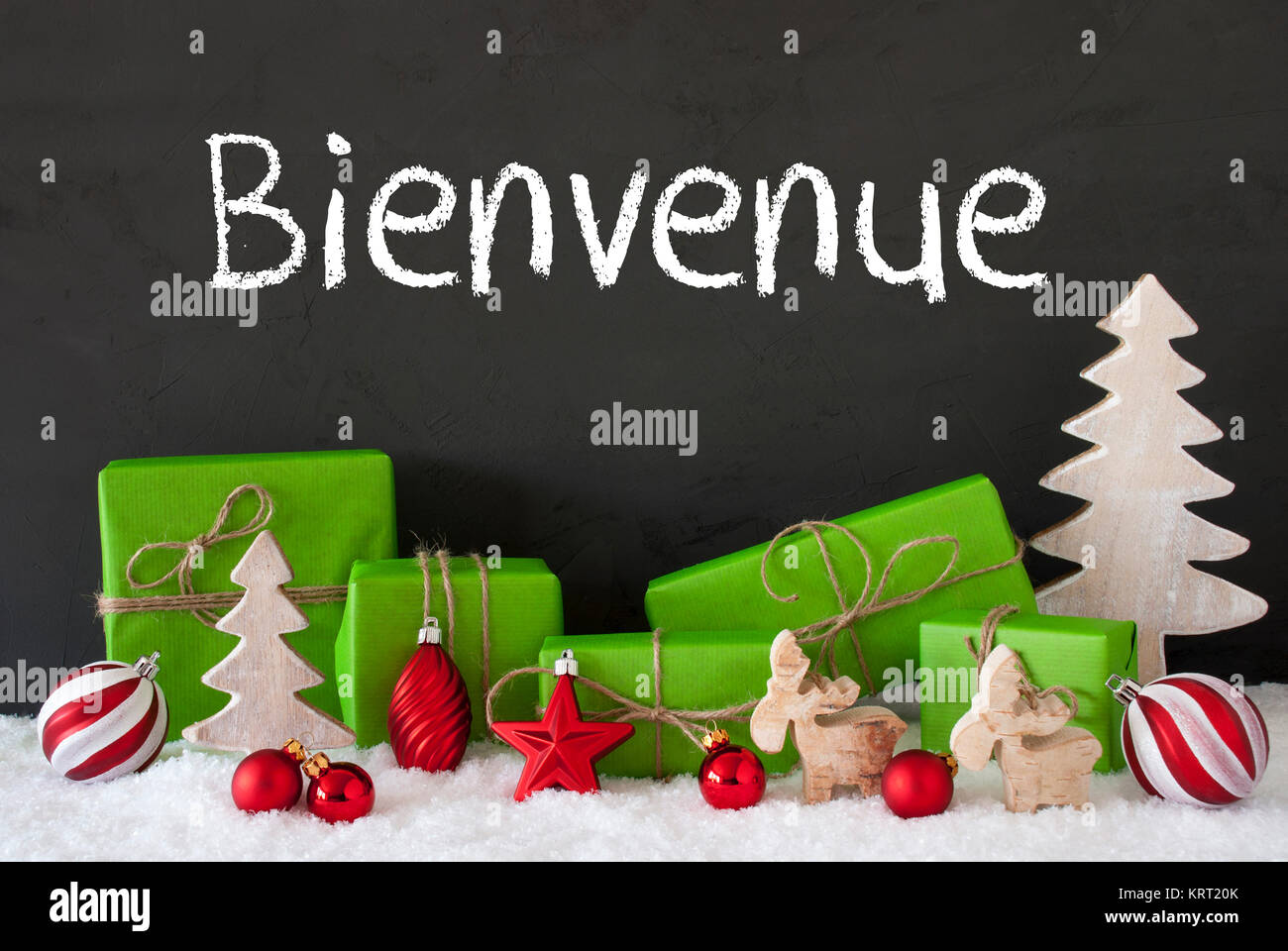 French Text Bienvenue Means Welcome. Green Gifts Or Presents With ...