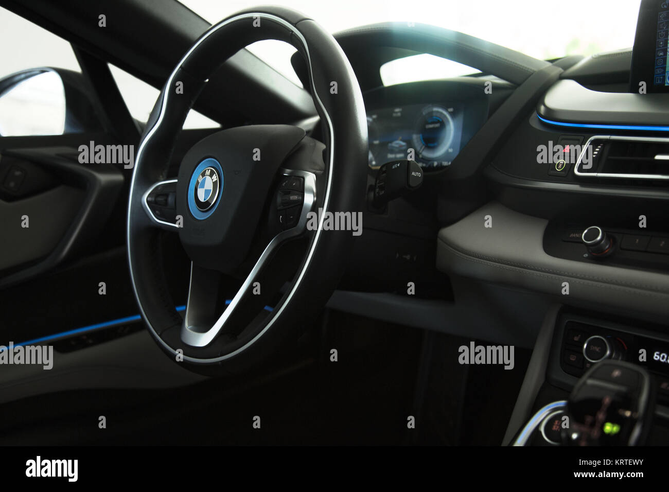 Bmw I8 Coupe Blue Black Exterior Interior Detail Stock Photo