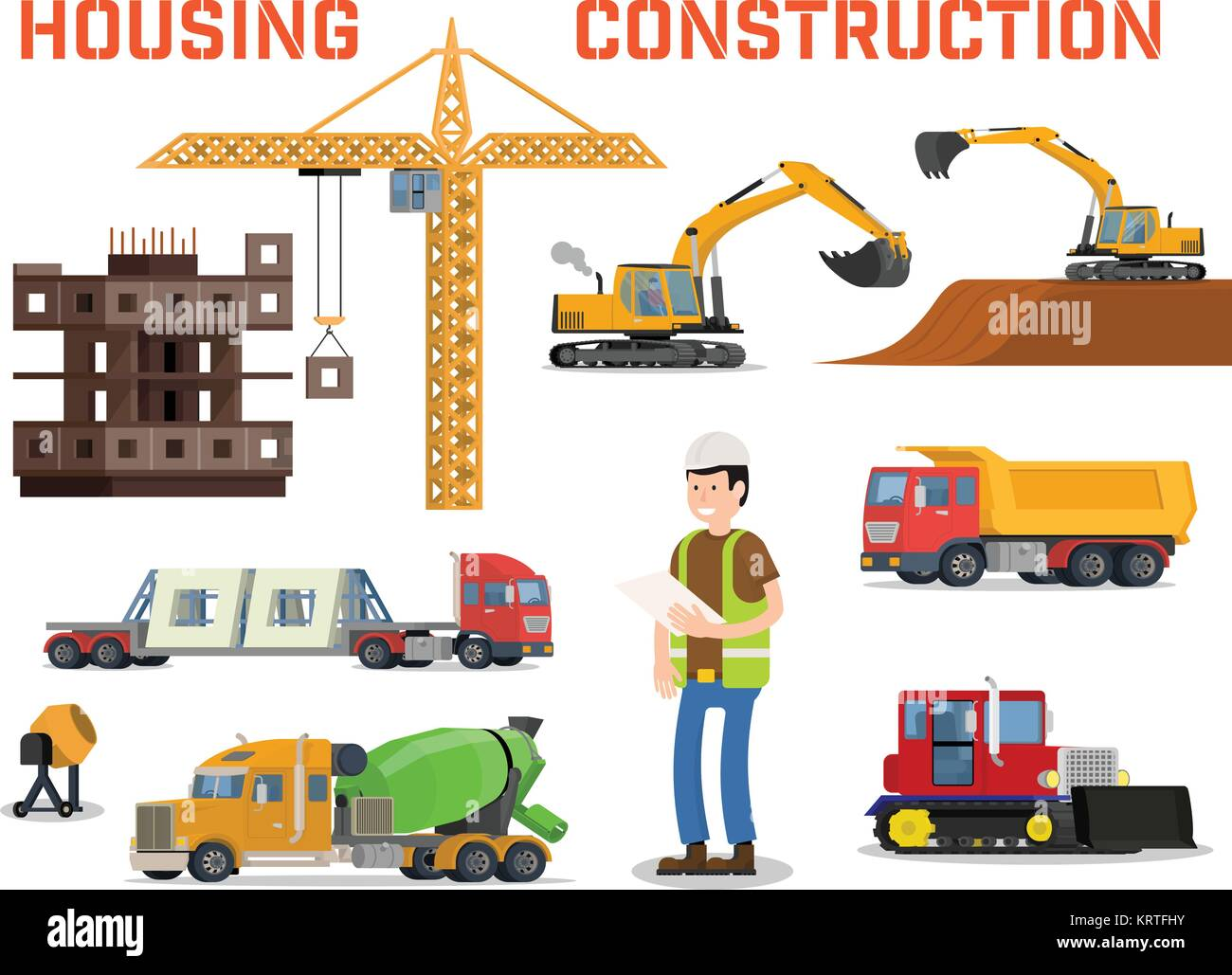 Build excavator machine machines stock photos build for Process of building a house