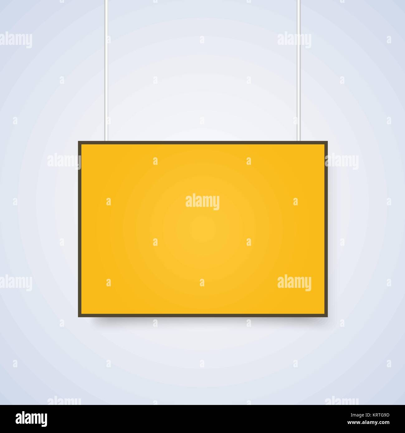 Empty yellow A4 sized vector paper mockup hanging with paper clips ...