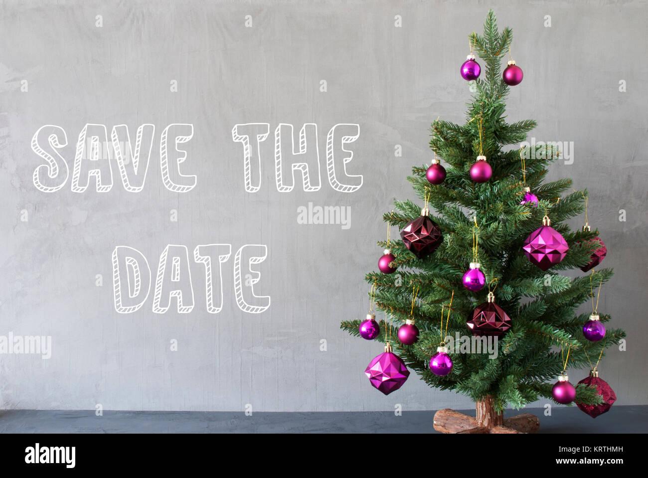English Text Save The Date. Christmas Tree With Purple Christmas ...