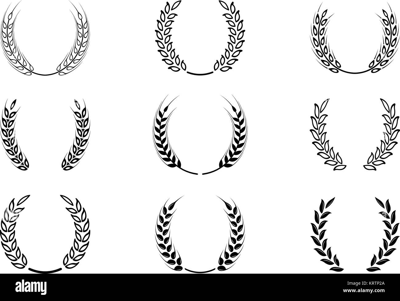 Black laurel wreath a symbol of the winner wheat ears or rice black laurel wreath a symbol of the winner wheat ears or rice icons set agricultural symbols isolated on white background design elements for bre biocorpaavc Choice Image