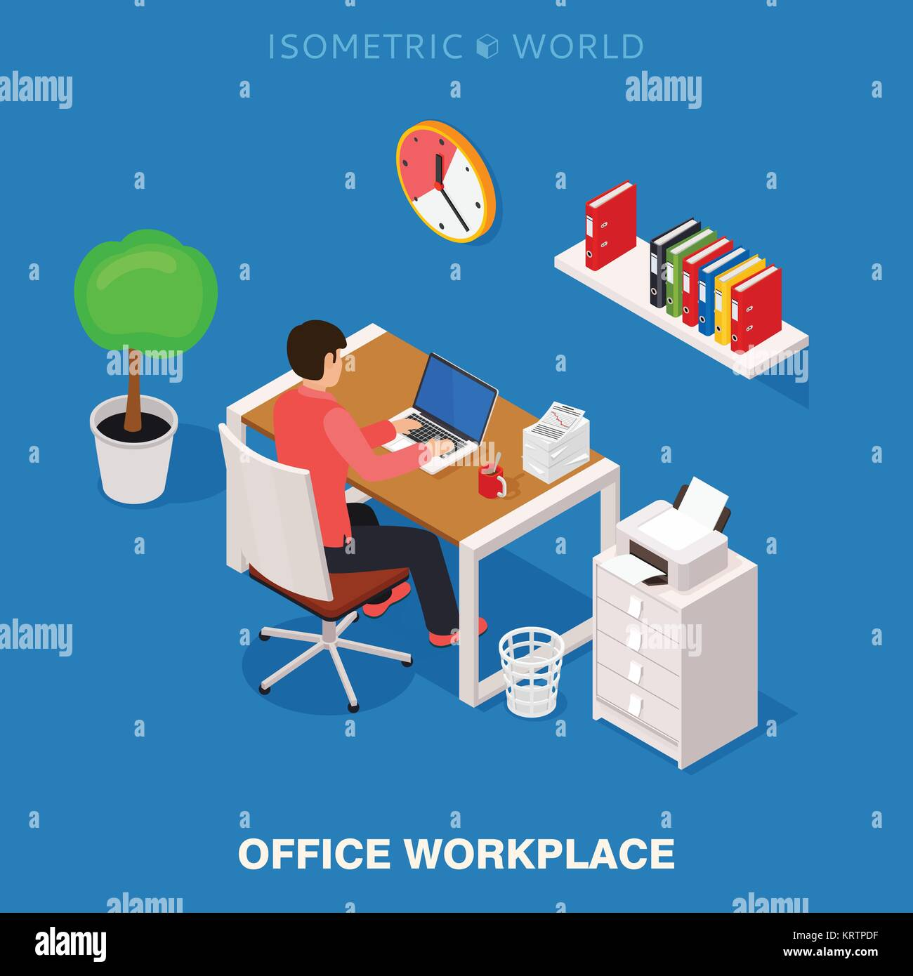 isometric office furniture vector collection. Colored 3d Isometric Office Workplace Vector Concept Illustration. Work Table Composition Plus Collection Of Objects Table, Chair, Books, La Furniture