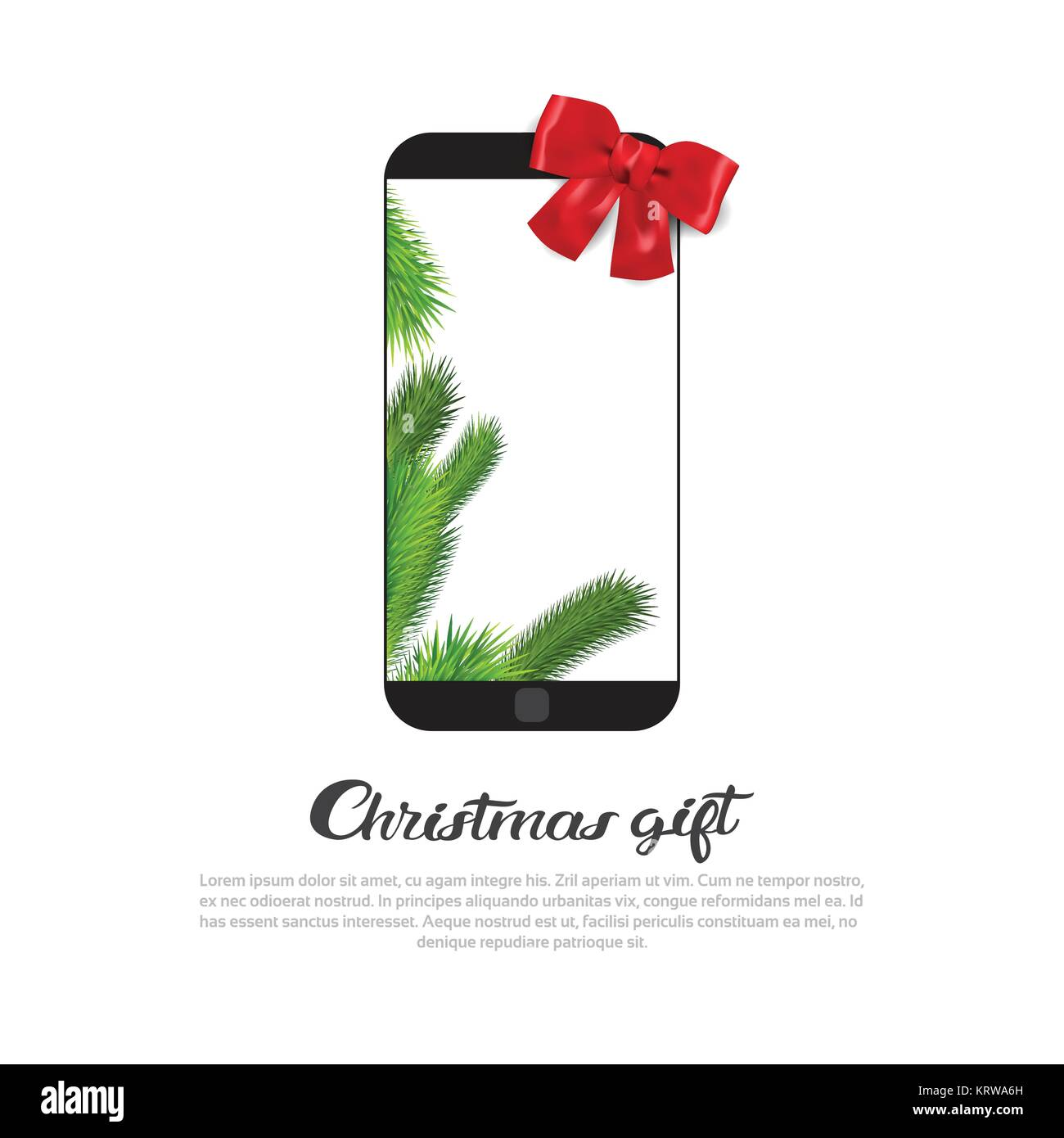 Modern Smart Phone With Red Ribbon Bow On Christmas Gift Banner Template Copy Space