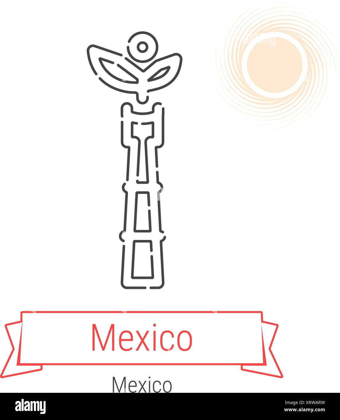 Mexico City Mexico Vector Line Icon With Red Ribbon Isolated On