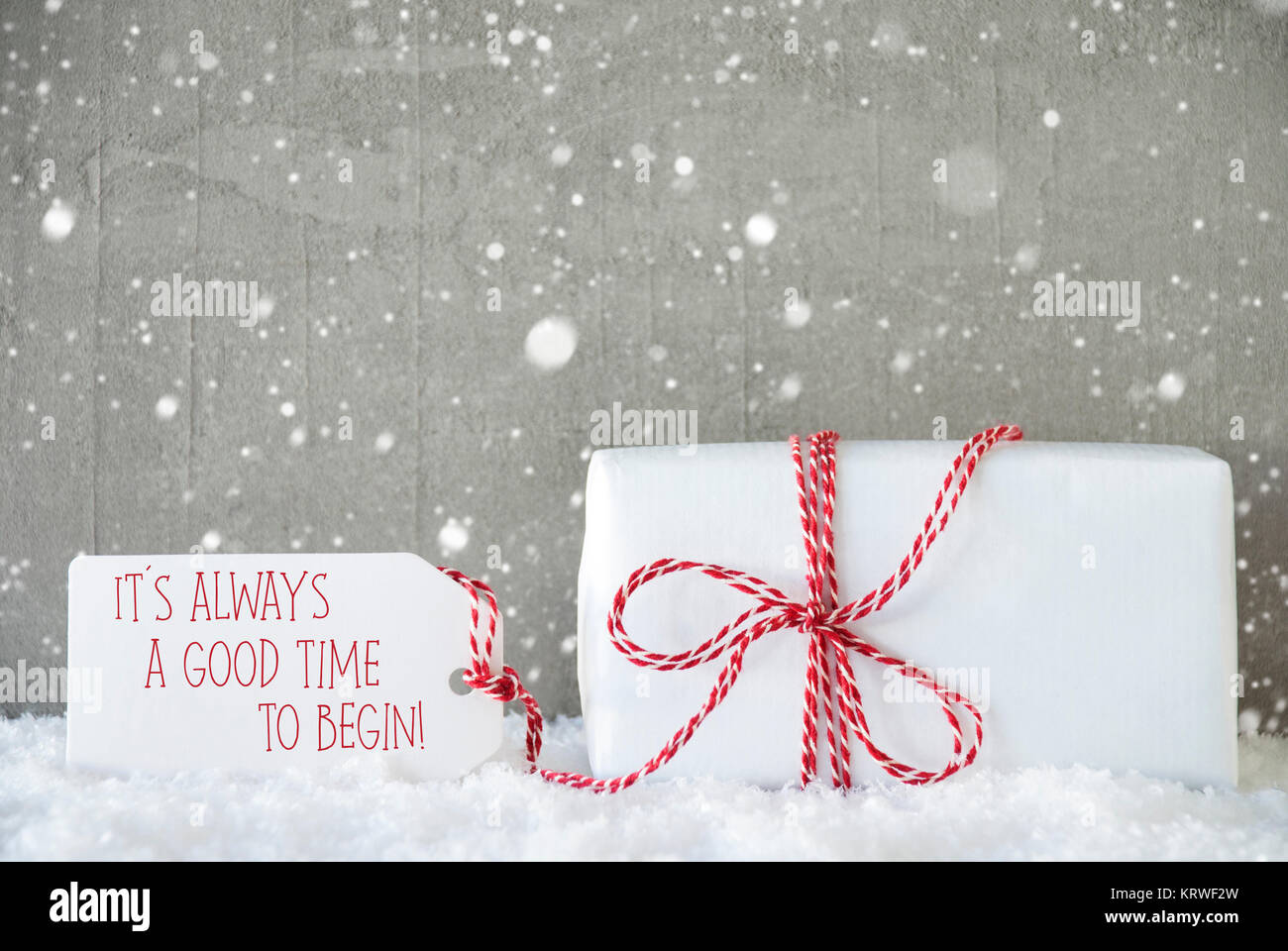 Bon Cement Wall As Background With Snowflakes. Modern And Urban Style. Card For  Birthday Or Seasons Greetings. Label With English Text Quote It Is