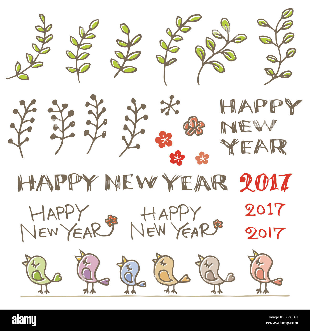 Little birds plant and new year greeting words stock photo little birds plant and new year greeting words m4hsunfo