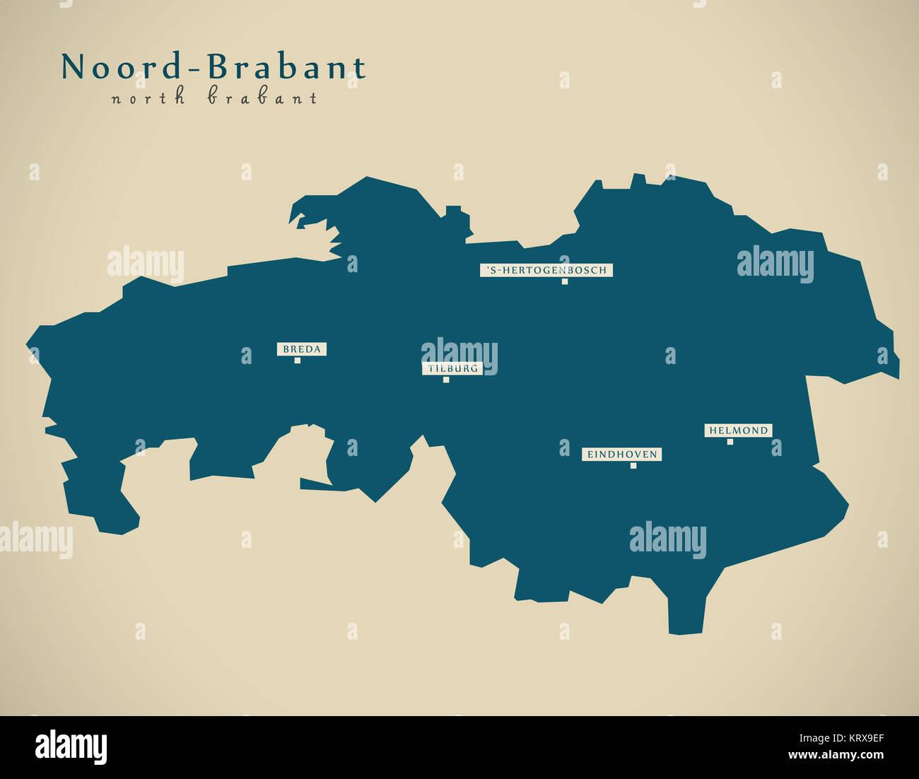 Modern Map Noord Brabant NL illustration Stock Photo 169608615