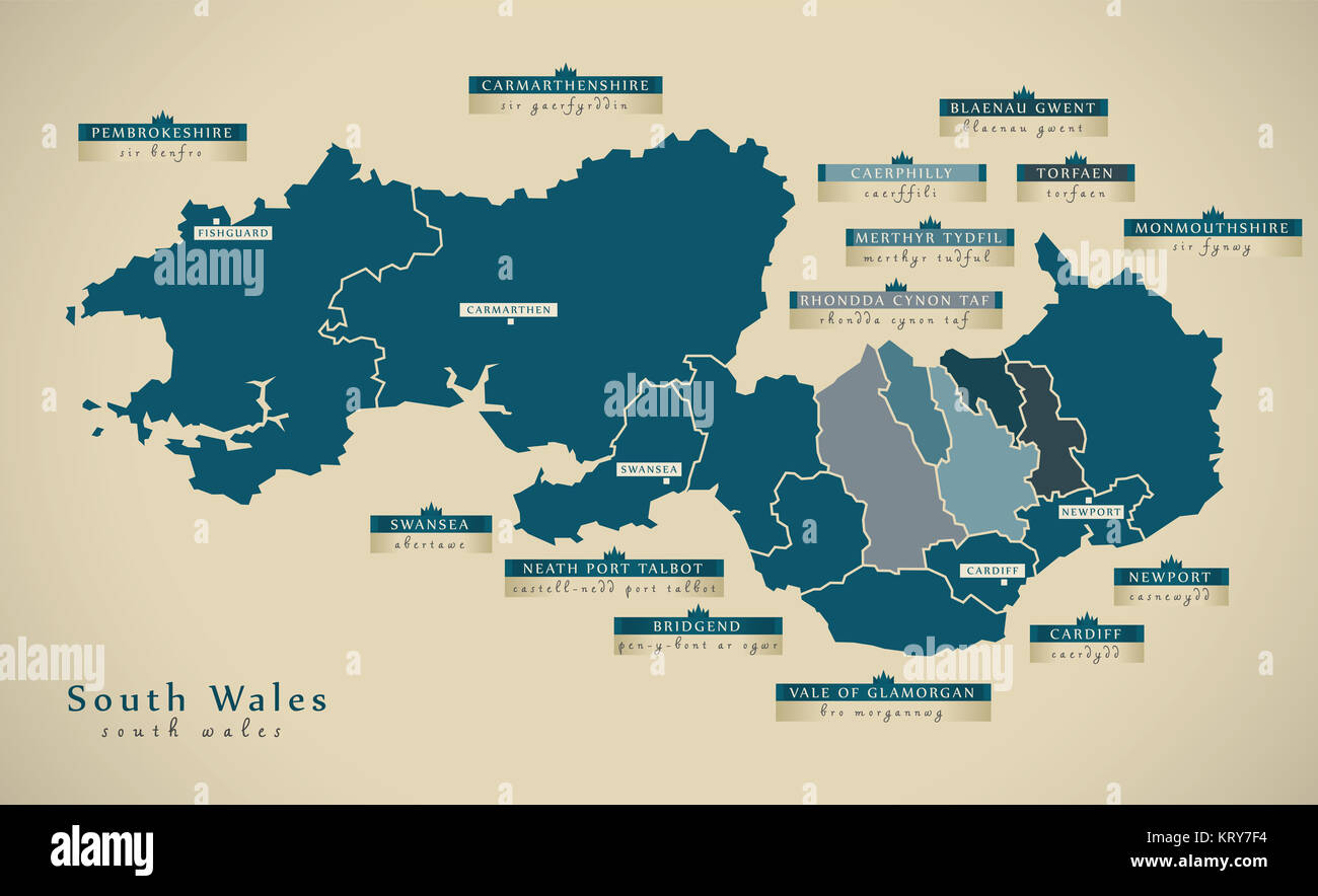 Modern map south wales uk illustration stock photo 169629016 alamy modern map south wales uk illustration gumiabroncs Image collections
