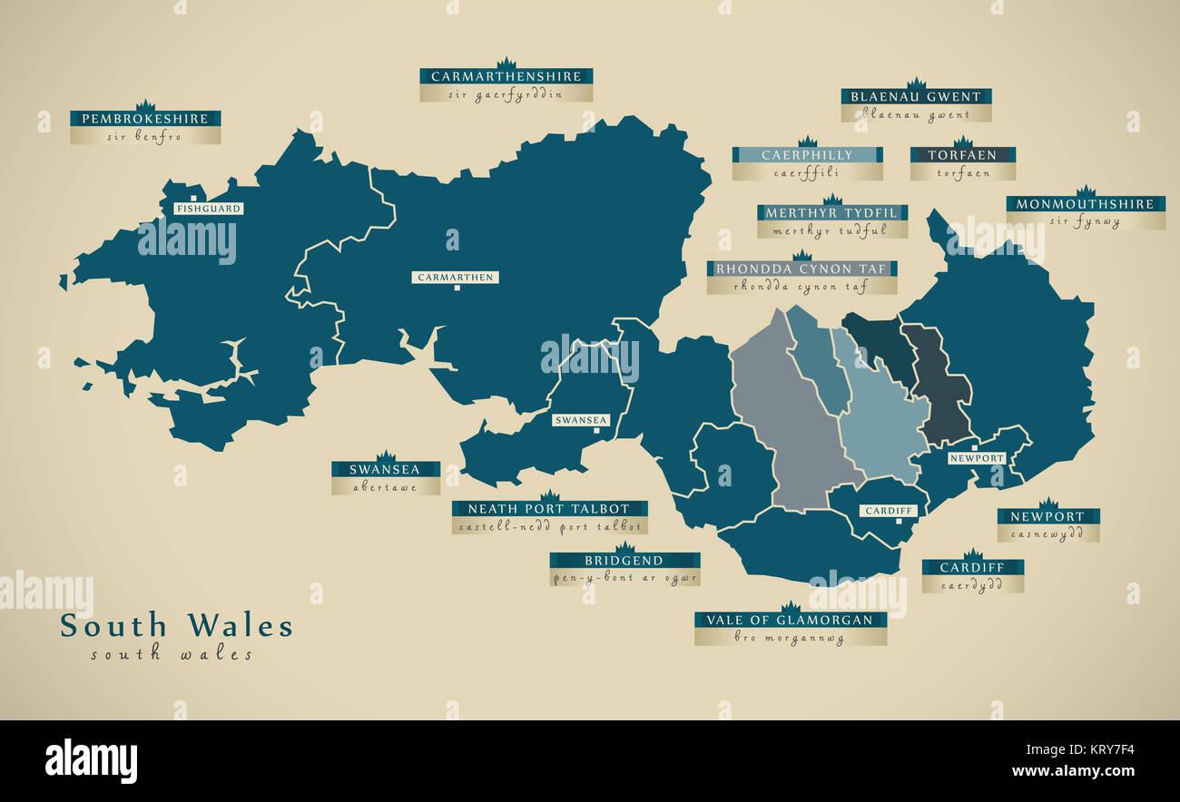Modern Map South Wales UK illustration Map