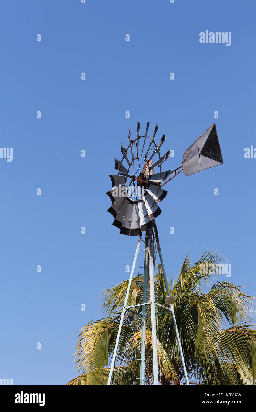 A View Of An Old Style Windmill For Water Extraction On Yucatan