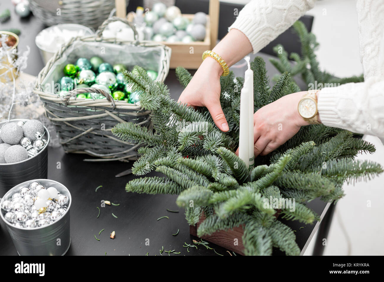 workshop of christmas decor with their own hands christmas wooden box with fir branches for the holiday the new year celebration master class on ma - Wooden Box Christmas Decorations