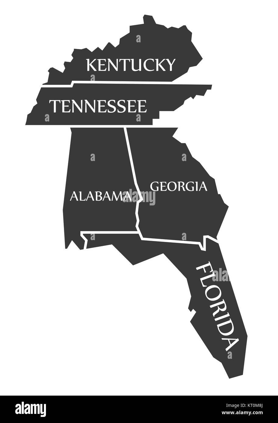 Kentucky - Tennessee - Alabama - Georgia - Florida Map labelled ...