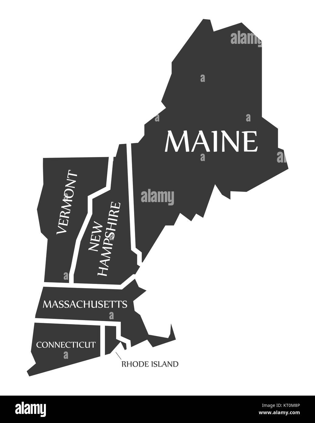 Maine - New Hampshire - Vermont - Massachusetts Map labelled black ...