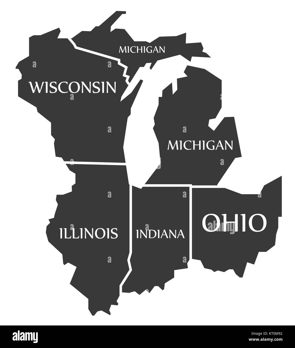 Wisconsin Illinois Map Michigan   Wisconsin   Illinois   Indiana   Ohio Map labelled