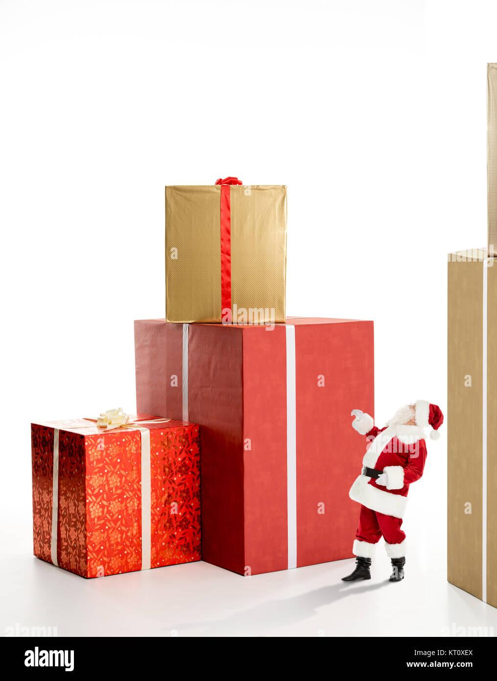 santa claus near big gift boxes stock photo 169665858 alamy