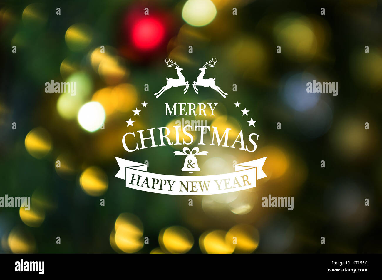 christmas and new year theme background merry christmas and happy new year text with abstract blur christmas background