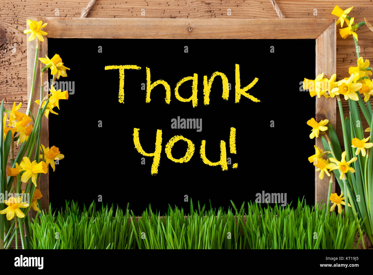 Blackboard With Yellow English Text Thank You Spring Flowers Stock